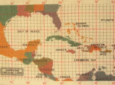 Hurricane Tracking Map Cross Stitch Pattern | Cottage Nest