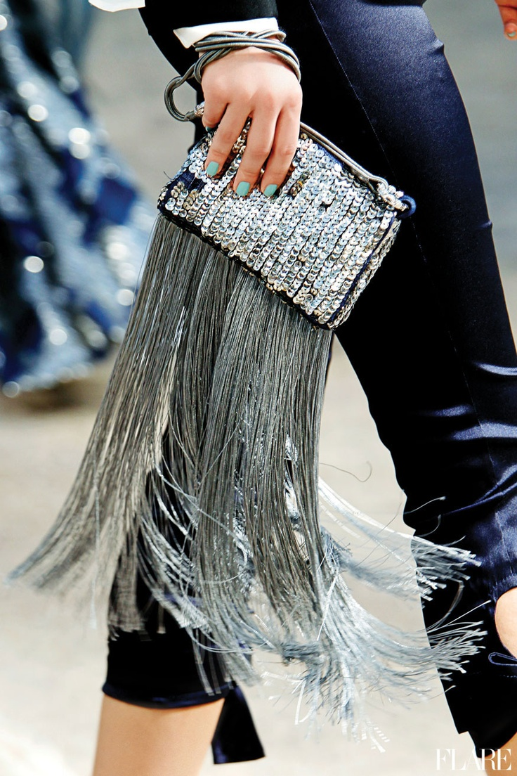 maybe with paete fringes above a silver clutch- Sparkle fringe handbag (clutch)