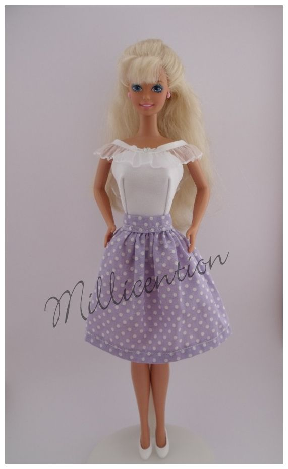 Lilac and white Barbie doll top & skirt