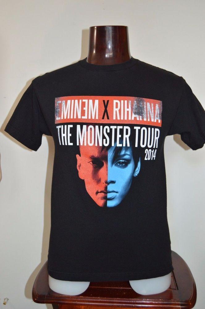 Eminem Rihanna the Monster Tour 2014 Concert Music T Shirt Black  #Unbranded #GraphicTeeDoubleSided