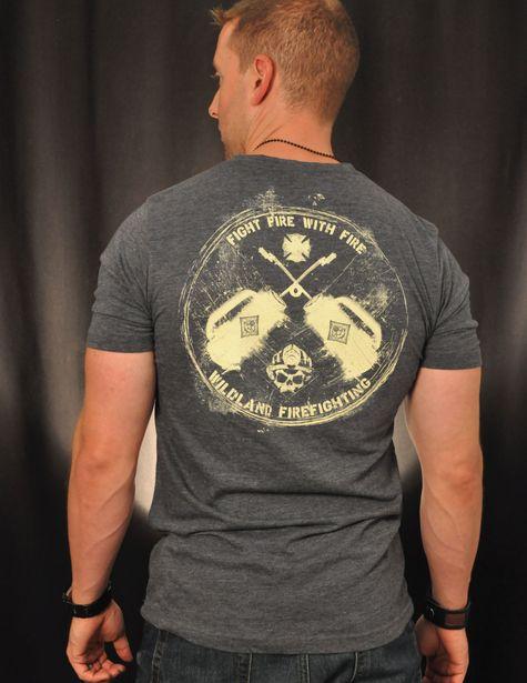 Drip Can Wildland Firefighter T-Shirt (Antique Denim Grey) | Black Helmet