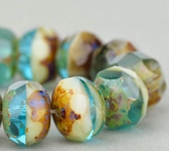 Czech Glass Rondelle Beads Aqua Green and Ivory Mix Opaque Transparent with Picasso at #SolanaKaiBeads #Czech #rondelles