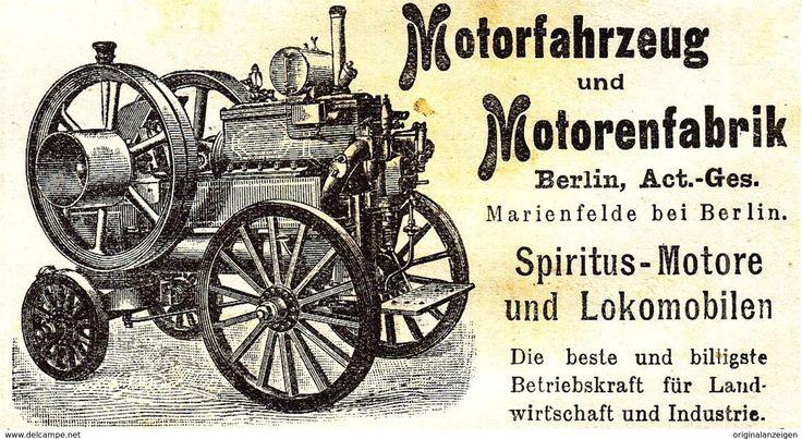 Werbung - Original-Werbung/ Anzeige 1900 - MOTORFAHRZEUG UND MOTORENFABRIK BERLIN / MARIENFELDE - ca. 90 x 45 mm