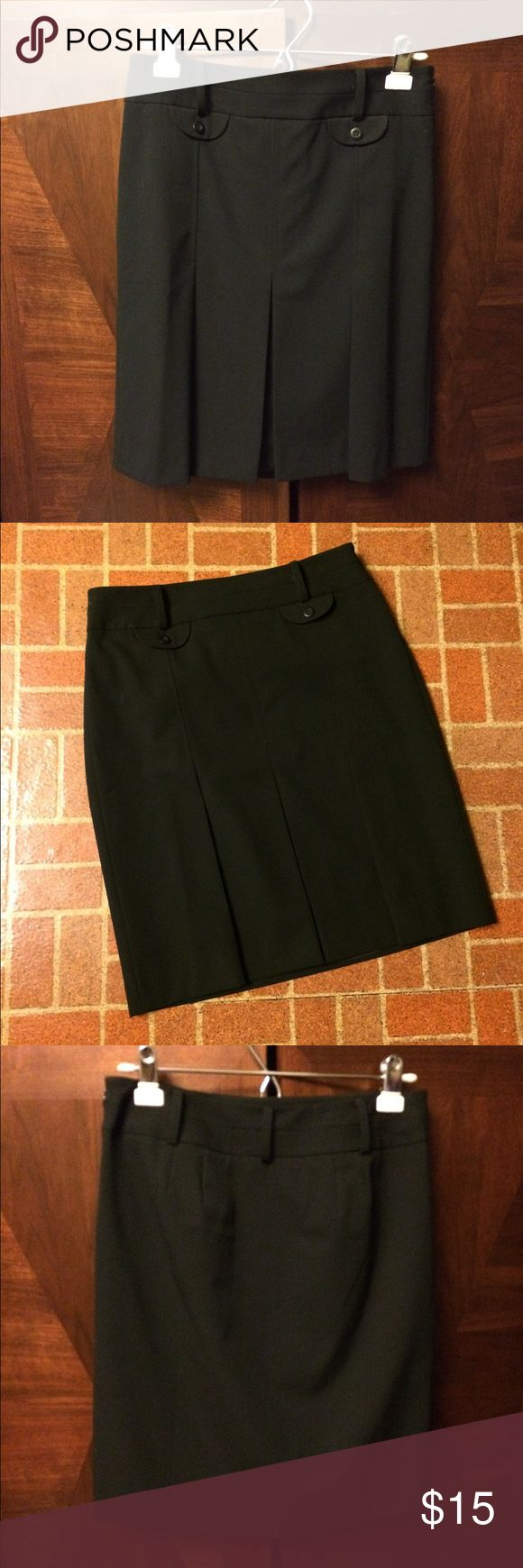 Anne Taylor LOFT Black Skirt Professional Anne Taylor black knee length skirt.  Two front pseudo pockets with buttons.  And pleats on lower part of skirt. LOFT Skirts