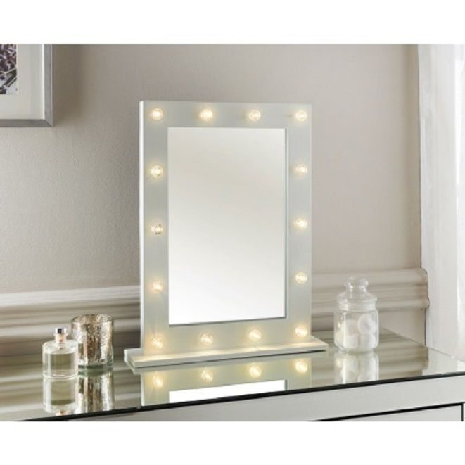 Modern Hollywood 14 LED Bulb Vanity Mirror Dressing Table Mirror White  Frame New