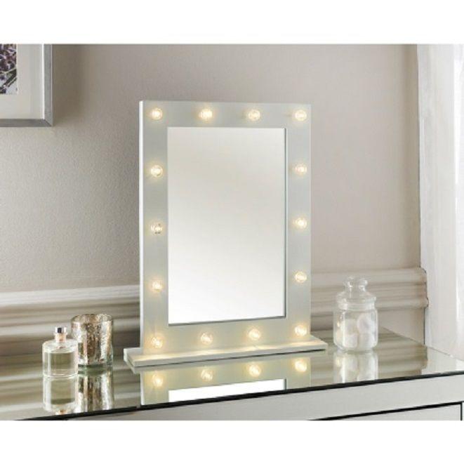 BRAND NEW STYLISH HOLLYWOOD WHITE GLOSS 14 LED BULB VANITY DRESSING TABLE MIRROR