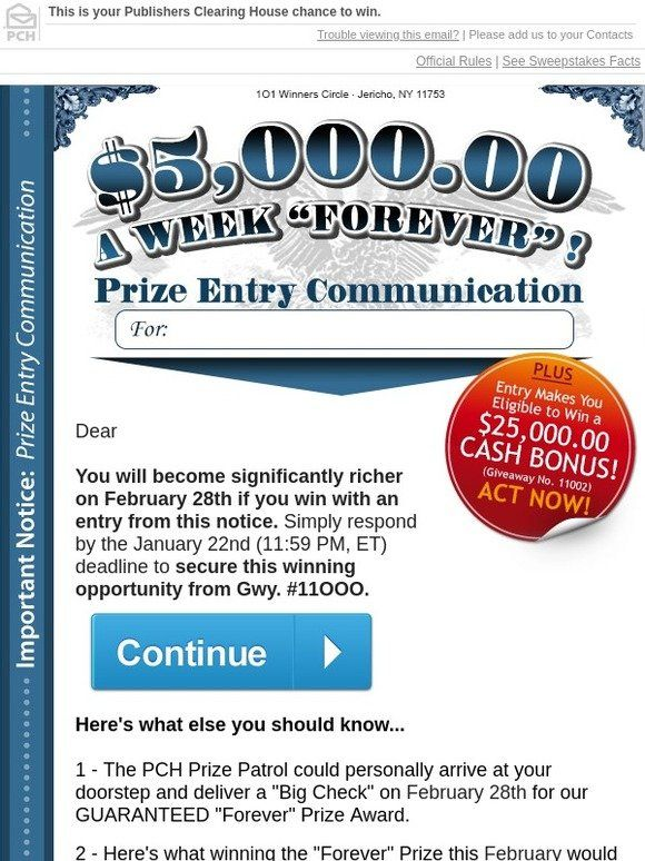 Milled has emails from Publishers Clearing House