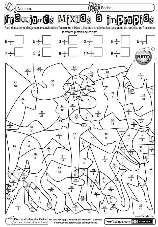 Jesús González Molinade la Escuela Primaria Vicente Guerrero, desde Los Placeres del Oro, Guerrero, México, comparte una ficha para pasar de fracciones mixtas a impropias. También dispones de otra...: