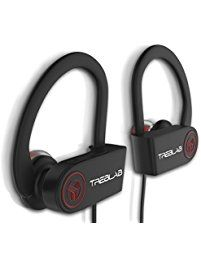 TREBLAB XR100 Bluetooth Sport Headphones, Best Wireless Earbuds for Running Workout, Noise Cancelling Sweatproof Cordless Headset for Gym, True Beats Earphones w/ Microphone, iPhone Android (Black)