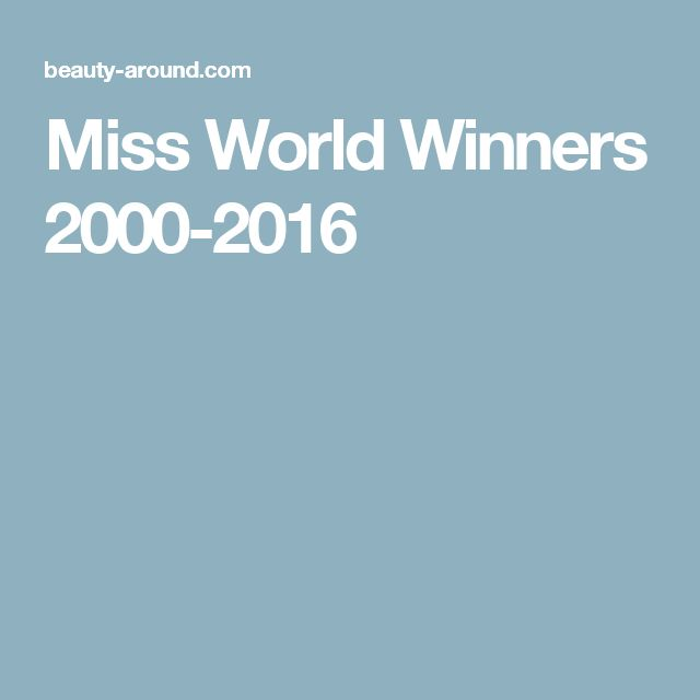 Miss World Winners 2000-2016