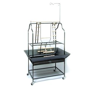 @Overstock - Treat your bird to this fantastic parrot play stand. Featuring perches and ladders galore, this stimulating bird gym includes bowls for treats and water, a seed guard and drawer, and casters for easy movement from one place to the next.http://www.overstock.com/Pet-Supplies/Prevue-Pet-Products-Parrot-Playstand-3180-Black-Hammertone/4125656/product.html?CID=214117 $149.99