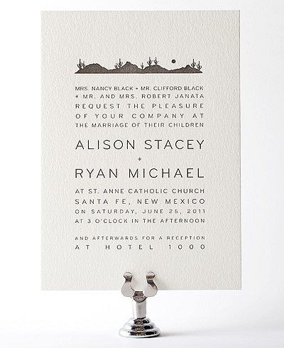 Desert Skyline Letterpress Wedding Invitation. I bet we could get a certain mountain skyline in there!