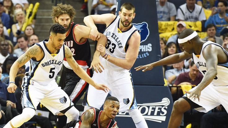 Marc Gasol (33) at the heart of the action as the Memphis Grizzlies beat the Portland Trail Blazers