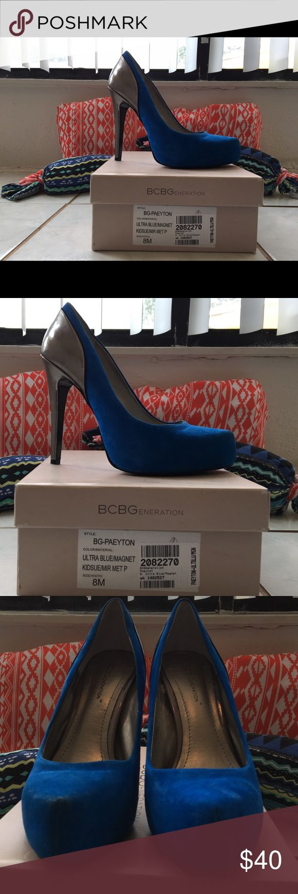 BRAND NEW BCBGeneration Style:BG-PAEYTON Ultra Blue/Magnet Pump  NEVER WORN Selling because my wife can't wear heals anymore due to two knee surgeries. No trades please. Smoke-free and pet-free home. BCBGeneration Shoes Heels