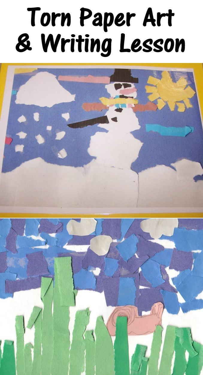 Inspire your students' writing and craft skills with this torn paper art activity! A great Elementary School lesson for any season.