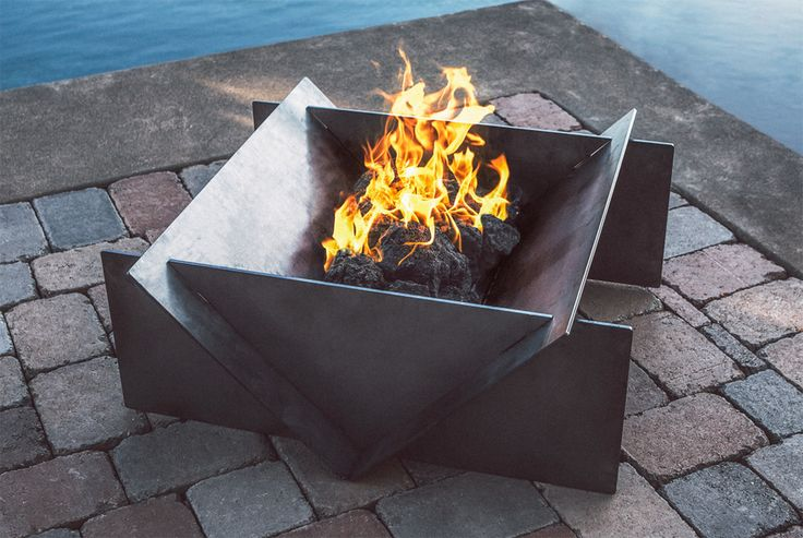 The Stahl Firepit, ideal for your backyard or large patio.  Sleek, modern steel.  www.stahlfirepit.com
