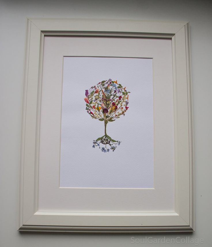 Pressed flowers art Floral art Botanical art Pressed Flower picture Family tree collage The tree of life Picture A4 OOAK by SoulGardenCollage on Etsy