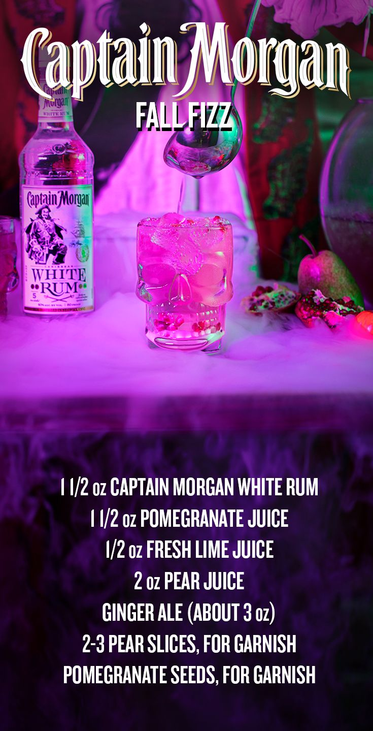 This Captain's cocktail is all treat and no tricks. To mix up a Fall Fizz for your Halloween party of 8, fill a punch bowl with ice, then add 12 oz Captain Morgan White Rum, 12 oz pomegranate juice, 4 oz fresh lime juice, and 16 oz pear juice. Stir well and pour halfway into a glass filled with ice. Top with ginger ale, garnish with pear slices and pomegranate seeds, and celebrate the spooky season with a drink that's scary good.