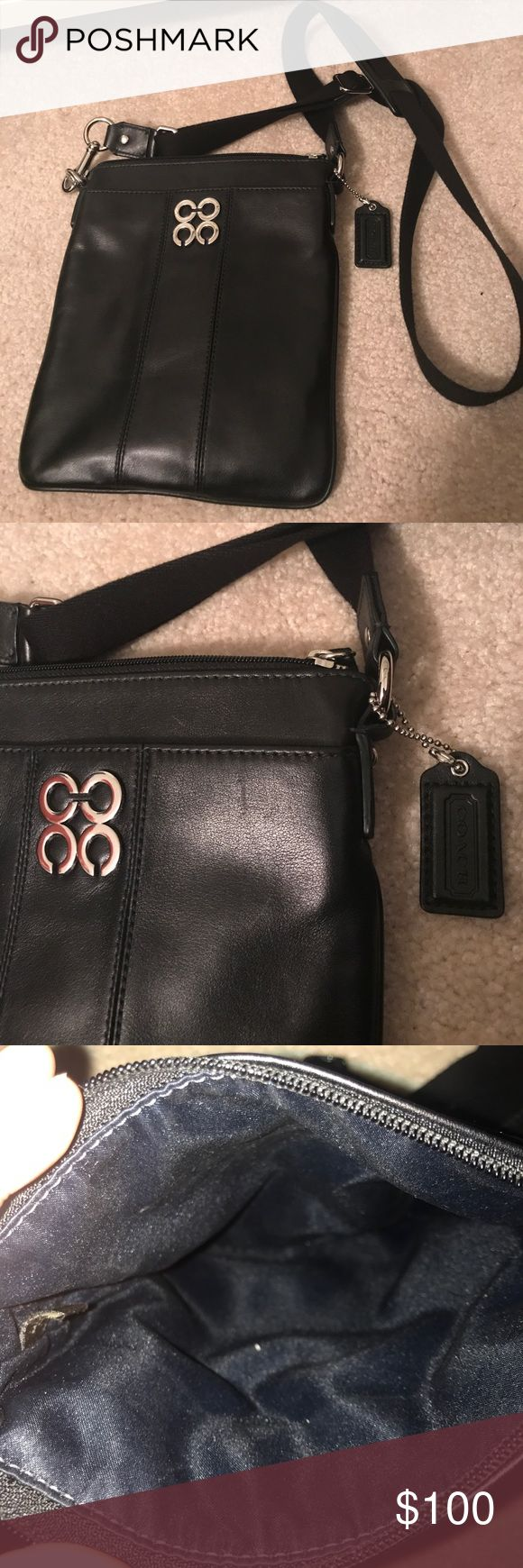 Authentic Coach Cross Body NWOT black Coach cross body purse! Great condition easy to throw accords you for a night out. Open front pocket with silver details, large zippers to center pocket. Willing to negotiate price! Coach Bags Crossbody Bags