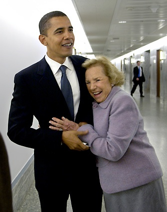 Obama and Ethel Kennedy, the widow of Sen. Robert F. Kennedy, share a laugh shortly before Obama delivers the keynote speech at the Robert F. Kennedy Memorial Human Rights Award.