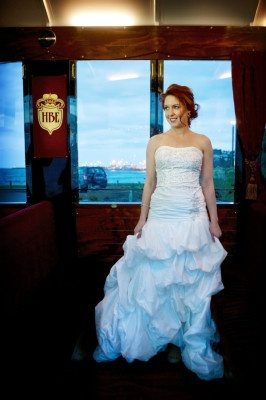"""""""Blushing Bride"""" :) aboard the Hawke's Bay Express ... arriving in style!"""