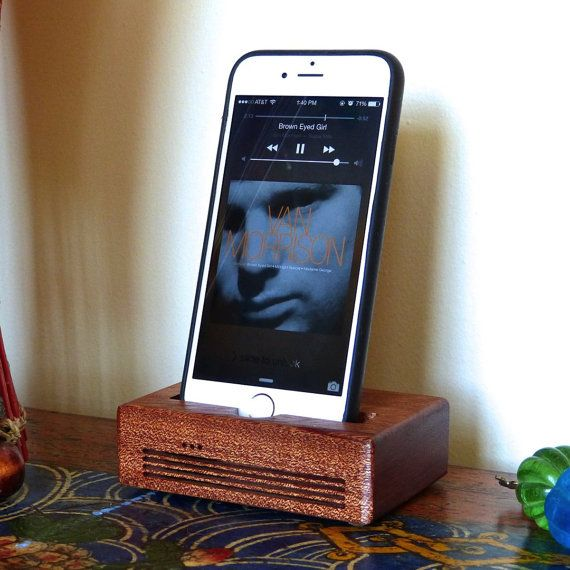 iPhone 6 Docking Station - The CONCERT  Speaker Dock in MAHOGANY wood – Use With or Without a Cover - Amplifies the Sound