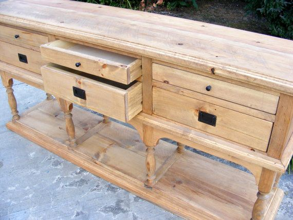 6 Drawer Console Solid Pine Completely Handcrafted Weathered