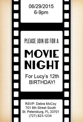 """""""Movie Night"""" printable invitation. Customize, add text and photos. print for free! - Greetings Island:"""