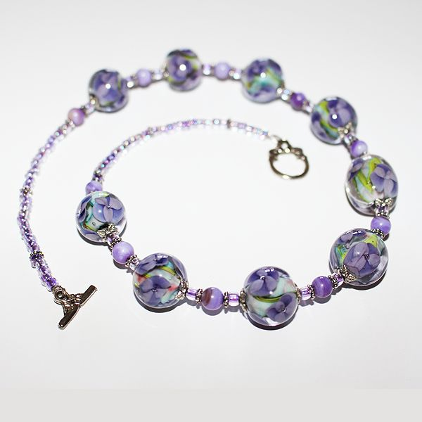 Sweet Violet Necklace. Lampworked Murano Glass.