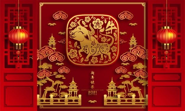 Chinese New Year 2021 Year Of The Ox Asian Background Chinese New Year Card Chinese New Year Design Chinese New Year Poster