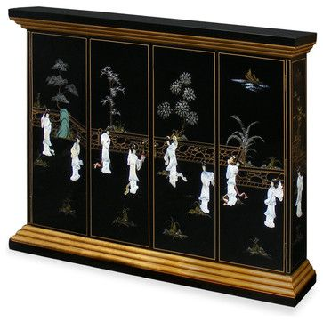 Black Lacquer Maidens Motif Wall TV Cabinet asian-storage-cabinets