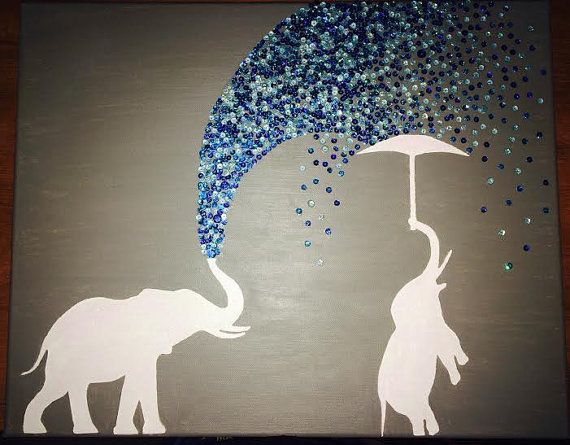 Elephant canvas painting by glitteredlife on Etsy