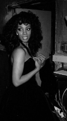 """I was so sorry to hear about the loss of Donna Summer. I once saw her walking down 50th st in NYC & said, """"Oh! Hi Ms. Summer!"""" She smiled and laughed hello.:) In this photo by Walter McBride, she is backstage at the Savoy Theater in New York in January 1983."""