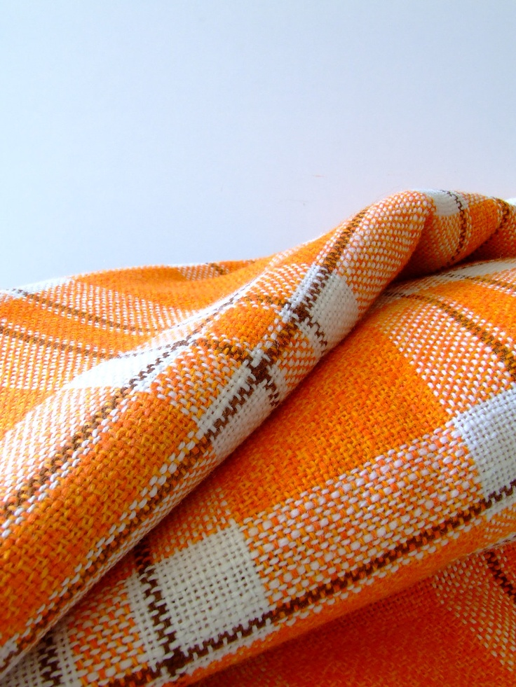 Like the fabric on these vintage curtains - orange and white check pattern from the 1960s: Check Patterns, Orange