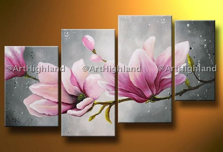ABSTRACT OIL PAINTINGS PAINTING FLORAL STILL LIFE NEW CANVAS WALL ART MAGNOLIA #ArtDeco