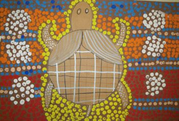 """Aboriginal Animals -  Students studied the artwork of the aborigines and specifically focused on their paintings of the 'Dreamtime Spirits"""". They created their own painting by first using the dot technique mastered by the aborigines. They selected an animal to use a focal point."""