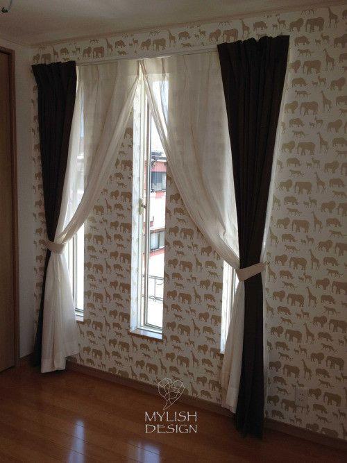 マイリッシュデザインのカーテン施工例 スリット窓のカーテン