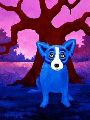 Blue Dog in a Landscape - Rodrique