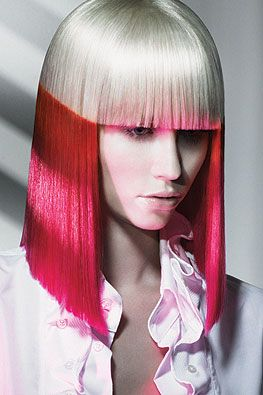 Pink and blonde bangs hairstyle
