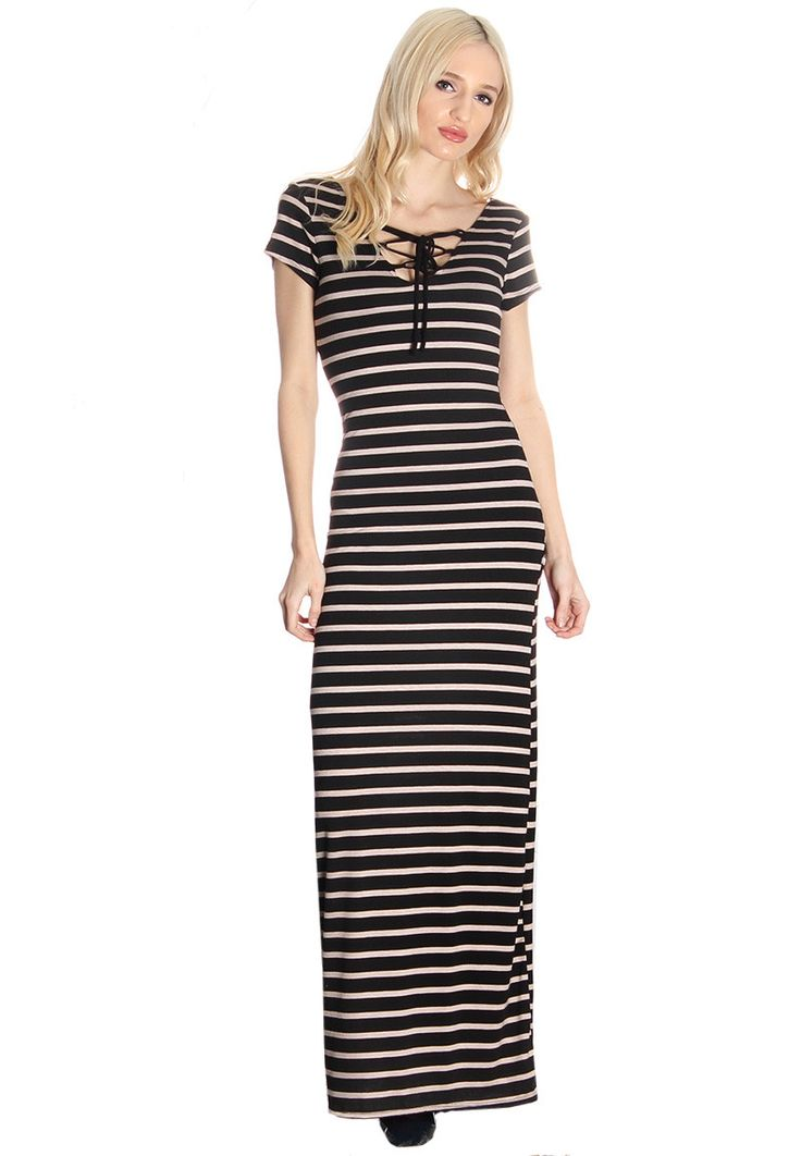 Black & Taupe Lace Up Maxi Dress #wholesaleclothing #wholesaleboutiqueclothing #wholesalefashion