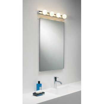 Astro Lighting Cabaret bathroom wall light       •0499 Cabaret bathroom wall light •IP44 rated, suitable for zones 2 and 3 •Dimmable •Switched •Polished chrome finish •Width: 6.5cm •Length: 55cm •Projection: 9cm •Bulbs: 4 x 25W max G9 lamps (included)  Additional Information  A bar of golf ball lamps that can be used on its own or with a mirror to create a truly stylish light for your cloakroom, bathroom or ensuite