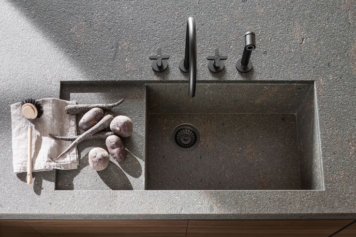 Dada VVD Kitchen designed by Vincent Van Duysen. Stone integrated sink, recessed, under-top | Italian Design