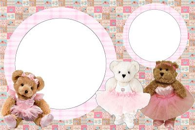 Ursinhas Teddy Bear Bailarinas Marrom e Rosa - Kit Completo com molduras para convites, rótulos para guloseimas, lembrancinhas e imagens!