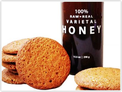 Buckwheat Honey & Ginger Cookies- Bee Raw Buckwheat Honey's flavor shines in these chewy, golden brown cookies. Adjust spices and ginger to your preference. These cookies will stay soft for a few days – if, they stay around that long.