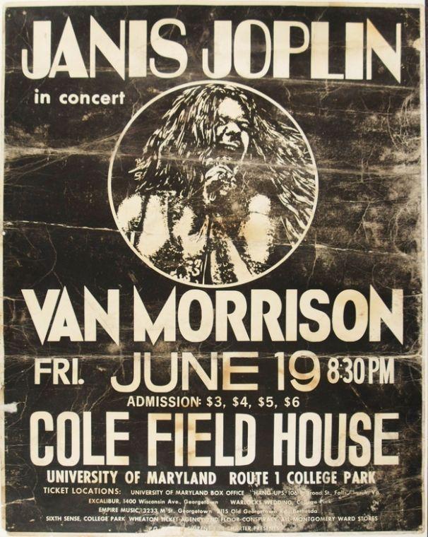 Janis Joplin Posters | Janis Joplin and Van Morrison, Cole Field House, University of ...