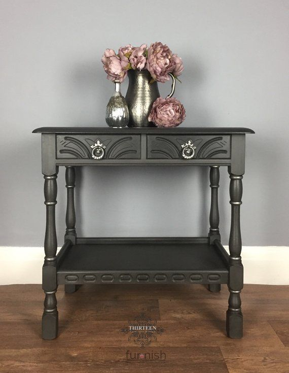Dark Grey And Silver Side Table Hall Table With Drawers Hand