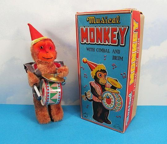 Musical Monkey Windup Toy w Original Box Near Mint 1950s