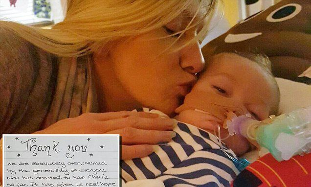 Readers help raise £195,000 for sick baby Charlie Gard #DailyMail