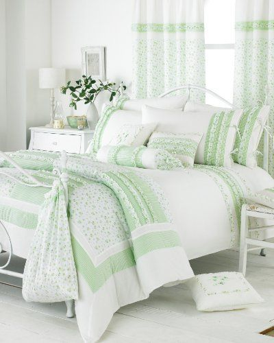 green and white shabby chic country cottage bedding