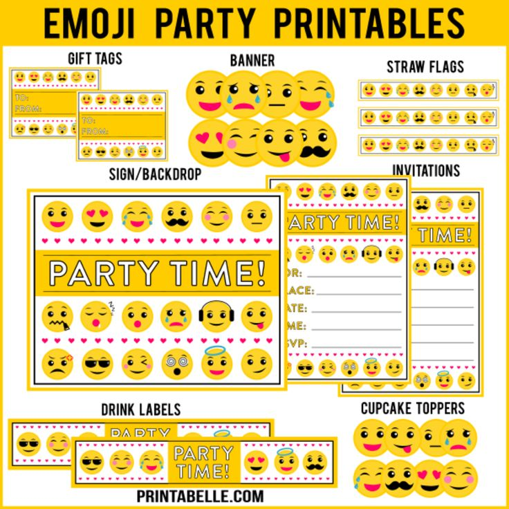 The Emoji Party Printables set includes a sign, invitations, water bottle labels, thank you cards, cupcake toppers, blank tented cards for place cards or menu cards, and lots more. For Personal Use Only. Do not modify, change, redistribute or sell. For more information, go to Printabelle.com/legal. <strong>If needed sooner than 24 hours, contact me at printabelle@gmail.com to find out if I can get it to you sooner.</strong>